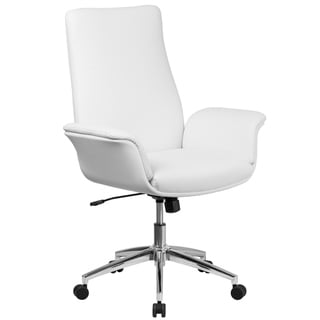 Executive White Leather Adjustable Swivel Office Chair With Flared Arms