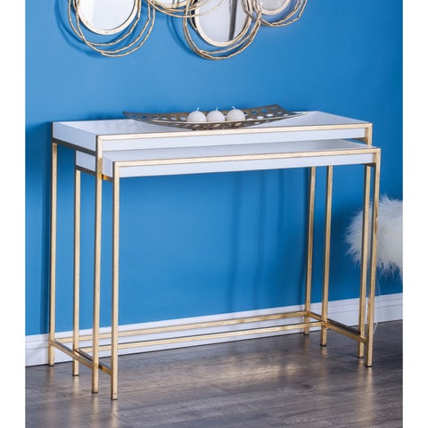 Contemporary Rectangular Gold Console Table Set by Studio 350 - N/A