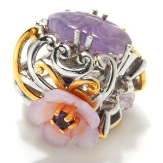 Michael Valitutti Palladium Silver Carved Amethyst, Mother-of-Pearl & Pink Sapphire Flower Charm