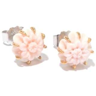 Michael Valitutti Palladium Silver Carved Pink Conch Shell Stud Earrings