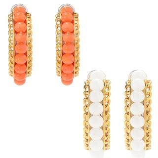Michael Valitutti Palladium Silver Bamboo Coral Bead & Flower Detailed Hoop Earrings