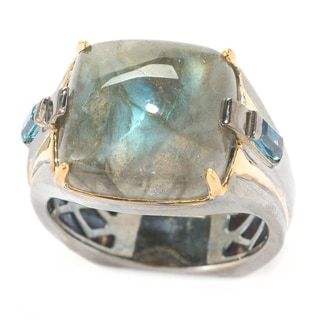 Michael Valitutti Palladium Silver Labradorite & London Blue Topaz Men's Ring - Brushed Silver