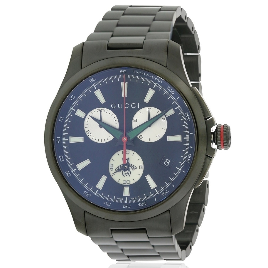 3f8cde7920a Shop Gucci G-Timeless Black Stainless Steel Chronograph Mens Watch YA126268  - Free Shipping Today - Overstock - 17284477