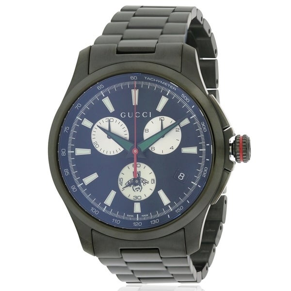 c48f6346a67 Shop Gucci G-Timeless Black Stainless Steel Chronograph Mens Watch ...