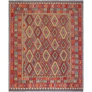 Sangat Kilim Naweeda Red/Grey Rug (8'2 x 9'10)