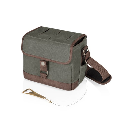 LEGACY® 'Beer Caddy' Cooler Tote with Opener, (Khaki Green & Brown)