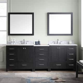 Virtu USA Caroline Premium 90 inch Double Bathroom Vanity Set Vanities  Cabinets For Less Overstock com