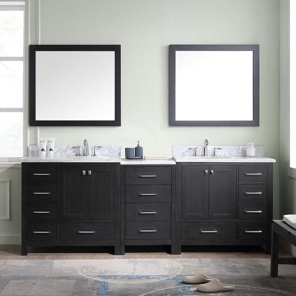 Virtu Usa Caroline Premium 90 Inch Double Bathroom Vanity Set