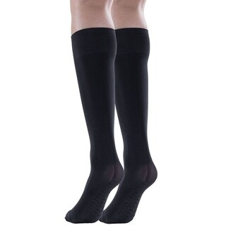 2 Pairs Womens Opaque Knee High Socks, 80 Denier, Stretchy Massage Sole