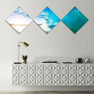 Designart 'Blue Waves Arch' Seascape Photography Canvas Art Print - 3 Diamond Canvas Prints
