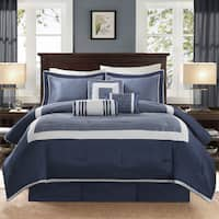 Madison Park Abigail Navy Solid Pieced 7 Piece King Size Comforter Set (As Is Item)