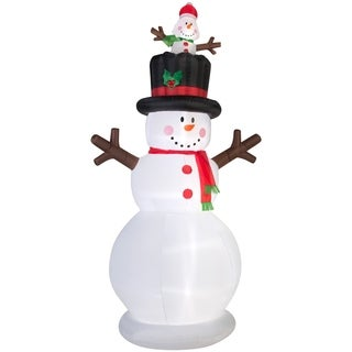 Christmas Airblown Inflatable Snowman w/Pop-up Baby Snowman