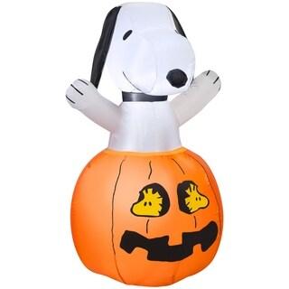 Halloween Airblown Inflatable Snoopy In Pumpkin w/Woodstock