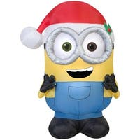 Christmas Airblown Inflatable Minion Bob with Santa Hat