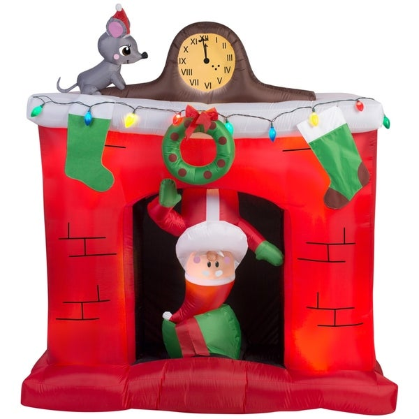christmas airblown inflatable santas head popping down at fireplace scene - Christmas Airblown Inflatables