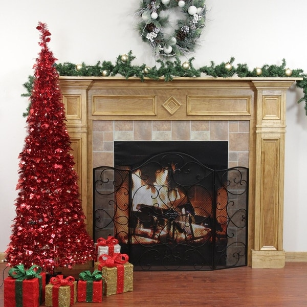 Shop 6 Pre Lit Pop Up Red Tinsel Artificial Christmas Tree Clear
