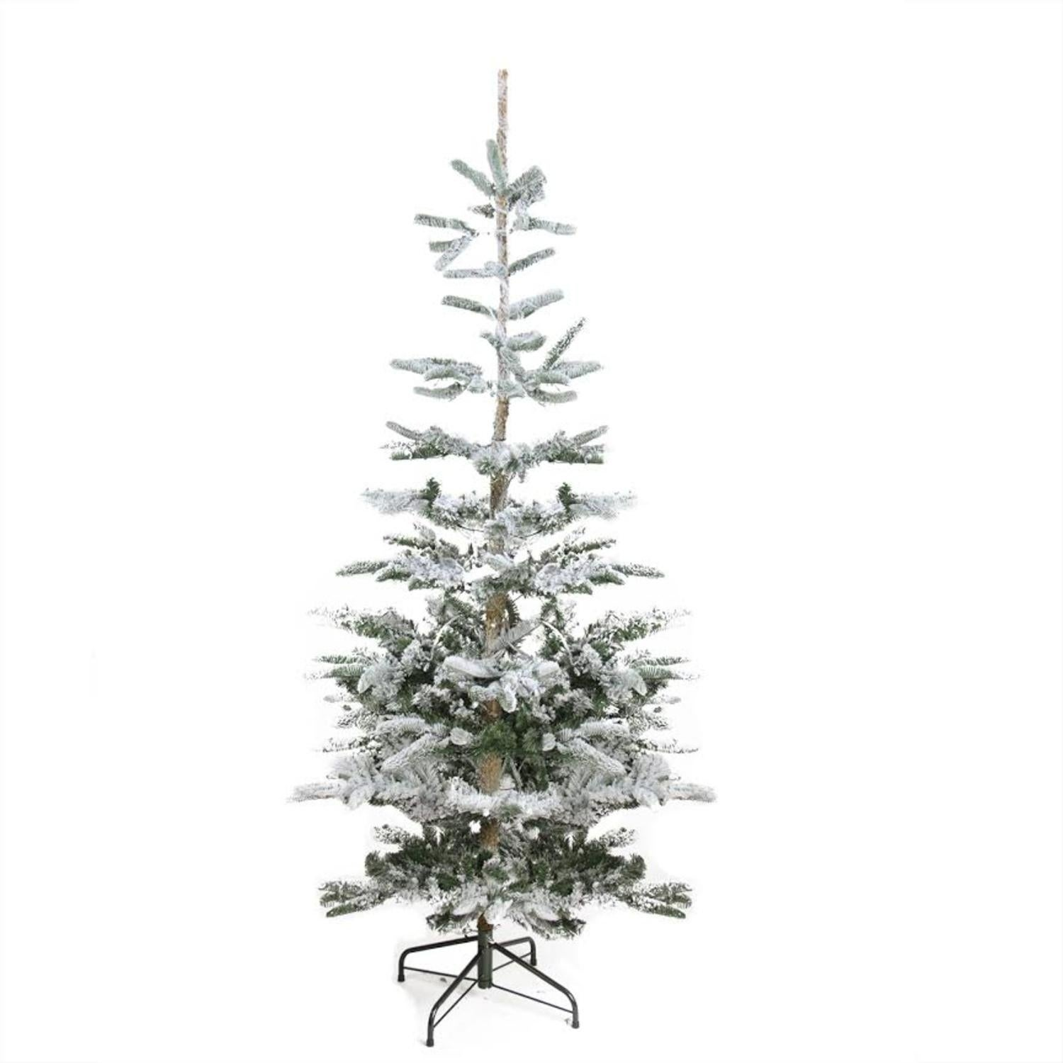6.5' Flocked Noble Fir Artificial Christmas Tree - Unlit,...