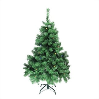 "4' x 30"" Pre-Lit Mixed Classic Pine Medium Artificial Christmas Tree - Multi LED Lights"