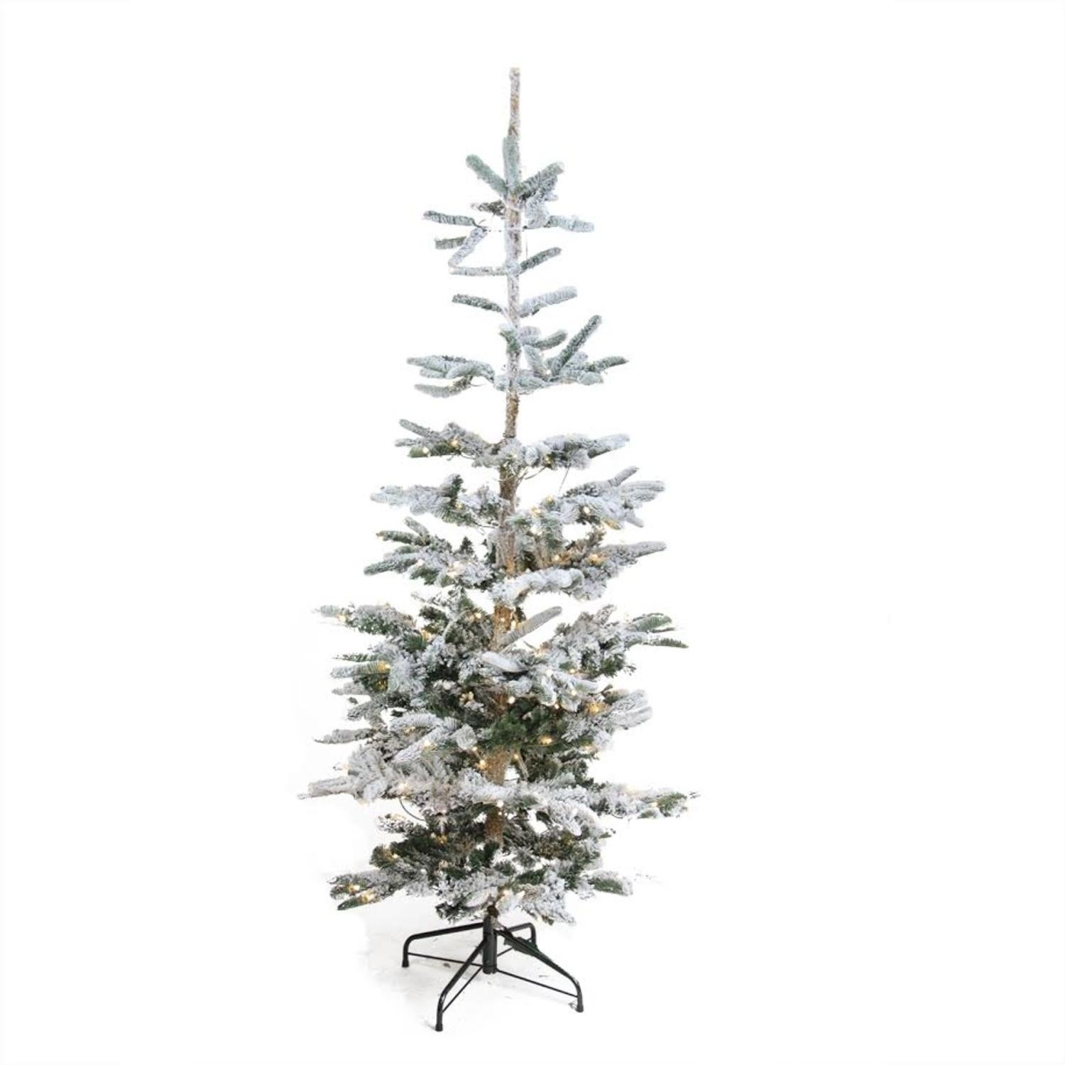 6.5' Pre-Lit Noble Fir Artificial Flocked Christmas Tree ...