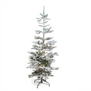 6.5' Pre-Lit Noble Fir Artificial Flocked Christmas Tree - Warm Clear LED Lights