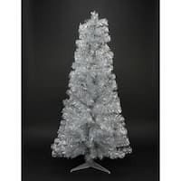 "4' x 29"" Pre-Lit Slim Silver Artificial Tinsel Christmas Tree- Clear Lights"