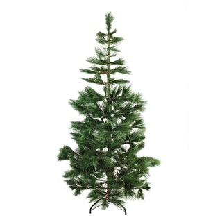 "7' x 48"" Pre-Lit Long Needle Pine Artificial Christmas Tree - Warm Clear Micro Rice LED Lights"