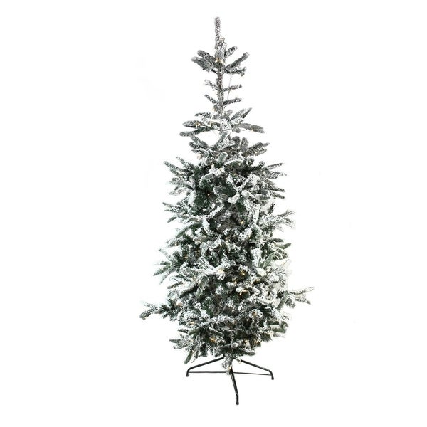Pre Lit Flocked Artificial Christmas Trees: Shop 7.5' Pre-Lit Noble Fir Flocked Artificial Christmas