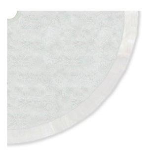 "48"" Iridescent Glitter Snowflake Print Christmas Tree Skirt with White Faux Fur Trim"