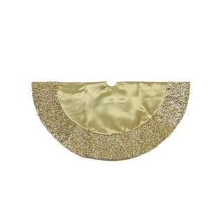 "20"" Gold Satin Mini Christmas Tree Skirt with Metallic Trim"