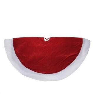"60"" Traditional Red and White Velveteen Christmas Tree Skirt"