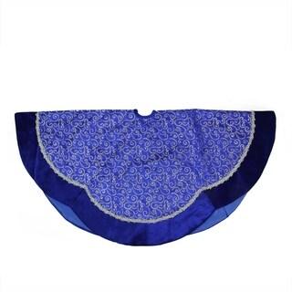 "48"" Blue & Silver Glitter Filigree Swirl Scallop Christmas Tree Skirt with Decorative Metallic Trim"