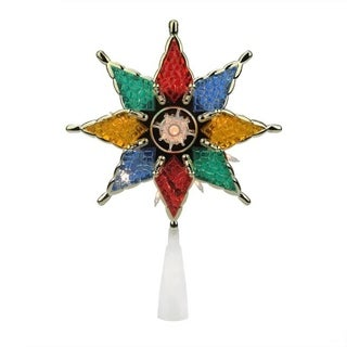 """8"""" Lighted Multi-Color 8-Point Star Christmas Tree Topper Decoration - Clear Lights"""