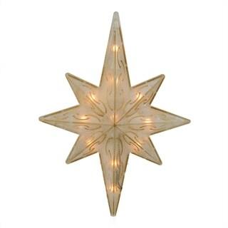 """11.75"""" Lighted Gold Glitter Star of Bethlehem Christmas Tree Topper - Clear Lights"""