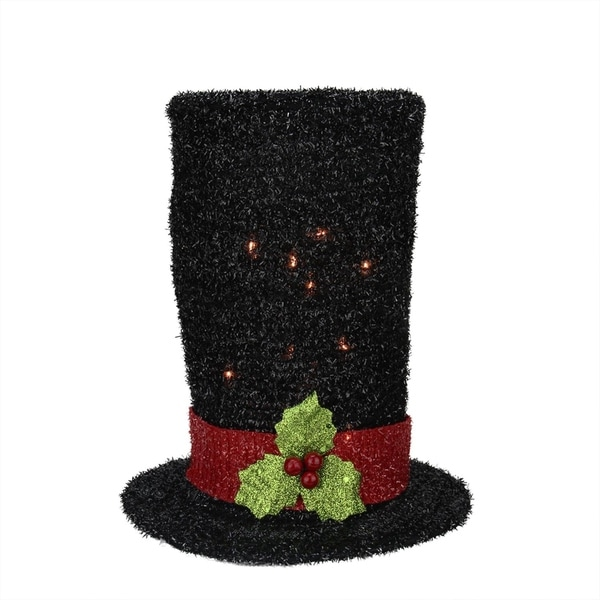 Quot lighted black tinsel snowman top hat christmas tree