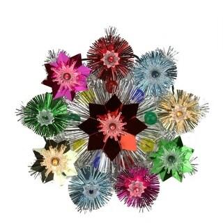 "8.5"" Lighted Tinsel Starburst Star Christmas Tree Topper - Multi-Color Lights"
