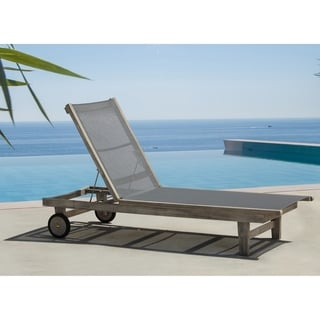 Courtyard Casual Driftwood Grey Teak Deck Side Outdoor Lounge Chair