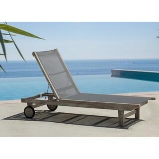 Courtyard Casual Driftwood Gray Teak Deck Side Outdoor Lounge Chair
