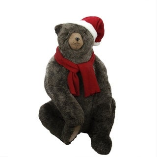 """36"""" Sitting Plush Brown Bear Christmas Decoration Wearing Hat and Scarf"""