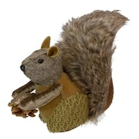 "6"" Country Cabin Decorative Faux Fur Trim Squirrel with Pine Cone Christmas Tabletop Figurene"