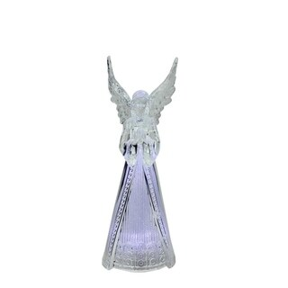 """9Â"""" LED Lighted Sparkling Praying Angel Christmas Table Top Decoration"""