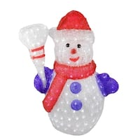 "24"" Pre-lit Commercial Grade Acrylic Snowman Christmas Display Decoration - Polar White LED Lights"