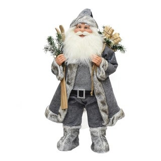 """24.5"""" Santa Claus with Skis and Presents Christmas Tabletop Decoration"""