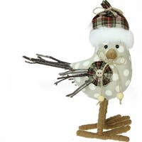 "9"" Nature's Luxury Brown and White Polka Dot Standing Bird Christmas Decoration"