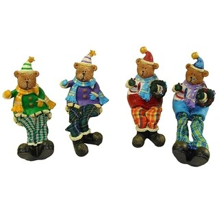 Club Pack of 144 Plaid Sitting Teddy Bear Christmas Table Top Figures 5.5""