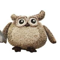 "10"" Charming Brown Plaid Owl w/ Textured Ivory Plush Table Top Christmas Figure"