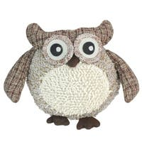 "12"" Charming Brown Plaid Owl w/ Textured Ivory Plush Table Top Christmas Figure"