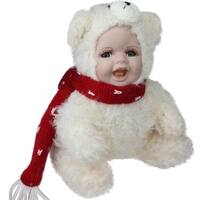 "6.5"" Porcelain Baby in Polar Bear Costume Collectible Christmas Doll"