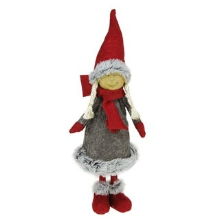 "13.5"" Young Girl Gnome in Faux Fur Trimmed Coat Christmas Decoration"
