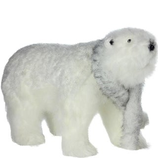 """28"""" Winter's Beauty Sparkling White Walking Bear with Scarf Christmas Decoration"""