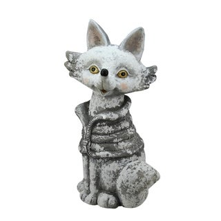 """20.75"""" Snow Dusted Silver Fox Christmas Table Top Decoration"""